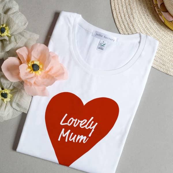 T-shirt femme cœur rouge à message