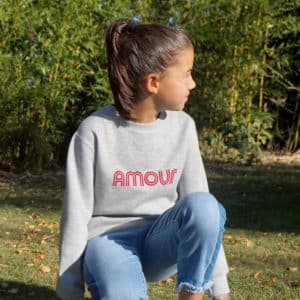 Sweat-shirt enfant Amour gris chiné