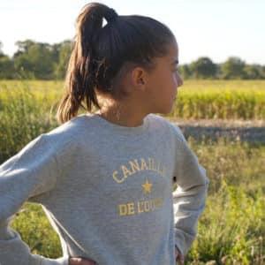 Sweat-shirt enfant étoile personnalisé gris chiné