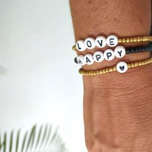 Bracelet perles lettres HAPPY or