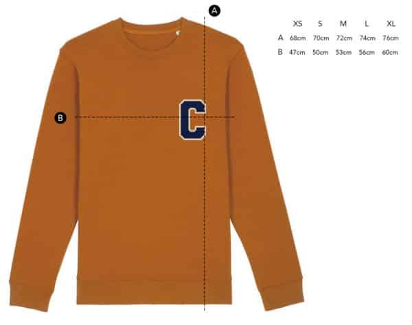 Sweat Initiale à personnaliser esprit vintage orange ambré