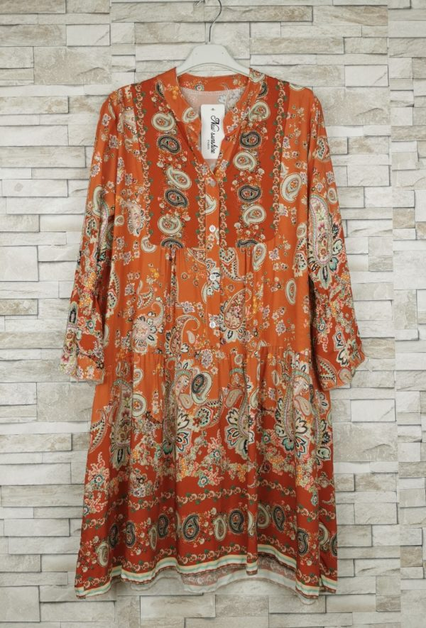 new sunshine robe courte imprime2 orange 1