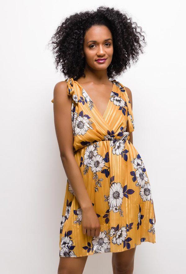 kaia robe fleurie32 mustard 1