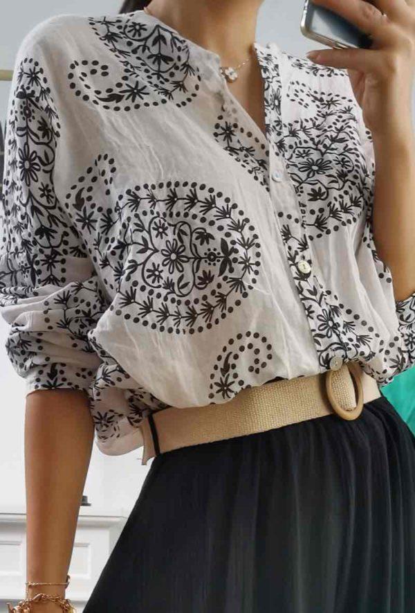 chemise imprime en coton black 1
