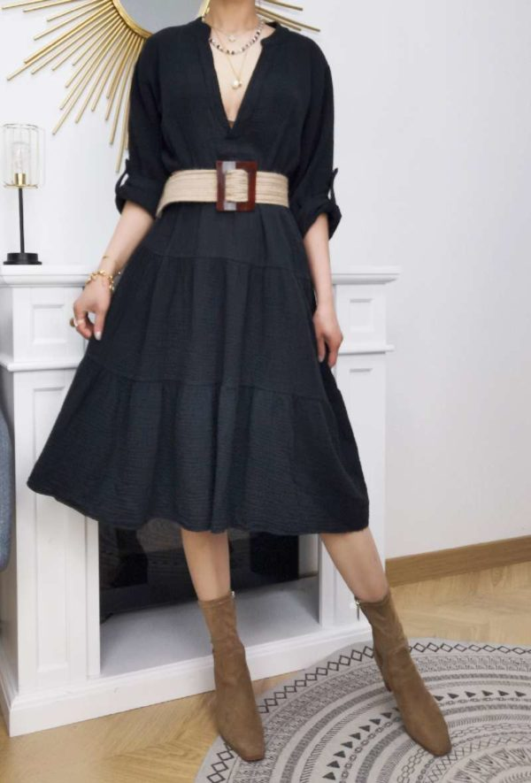 robe en gaze coton black