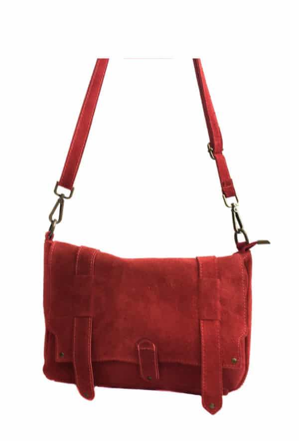 sac cuir besace rouge